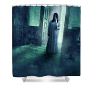 Girl With Candle In Doorway Shower Curtain by Jill Battaglia
