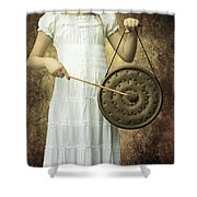 Girl With Gong Shower Curtain by Joana Kruse