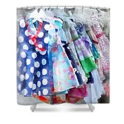 Girl's Dresses at Street Fair Shower Curtain by Susan Savad