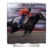 Rodeo Go For Broke Shower Curtain by Bob Christopher