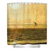Golden Day Painterly Shower Curtain by Ernie Echols