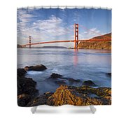 Golden Gate At Dawn Shower Curtain by Brian Jannsen