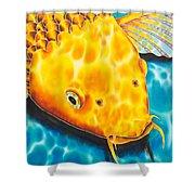 Golden Koi Shower Curtain by Daniel Jean-Baptiste