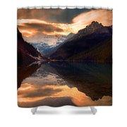 Golden Light On The Rockies Shower Curtain by Tara Turner
