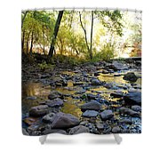 Golden Reflection In The Canyon Of  Light Shower Curtain by Heather Kirk