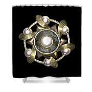 Golden Sun Disc Shower Curtain by Hakon Soreide