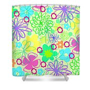 Graphic Flowers Shower Curtain by Louisa Knight