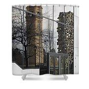 Great Northern Clocktower Reflection - Spokane Washington Shower Curtain by Daniel Hagerman