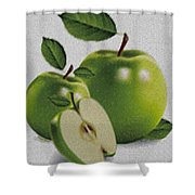 Green Apples Shower Curtain by Cheryl Young