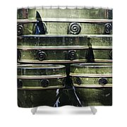 Green Circle Border Planters Shower Curtain by Teresa Mucha