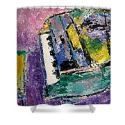 Green Piano Side View Shower Curtain by Anita Burgermeister