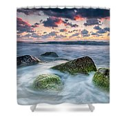Green Stones Shower Curtain by Evgeni Dinev
