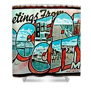 Greetings From Oc Shower Curtain by Skip Willits