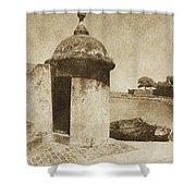 Guard Post Castillo San Felipe Del Morro San Juan Puerto Rico Vintage Shower Curtain by Shawn O'Brien