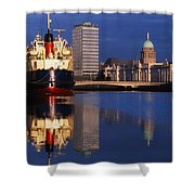Guinness Boat, Custom House, Liberty Shower Curtain by The Irish Image Collection
