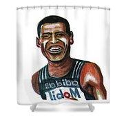 Haile Gebreselassie Shower Curtain by Emmanuel Baliyanga