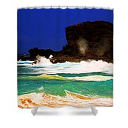 Halona Blowhole Shower Curtain by Cheryl Young