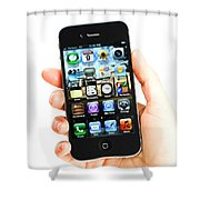 Hand Holding An Iphone Shower Curtain by Photo Researchers