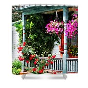 Hanging Baskets And Climbing Roses Shower Curtain by Susan Savad