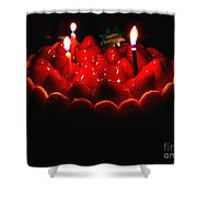 Happy Birthday Strawberry Charlotte Cake Shower Curtain by Wingsdomain Art and Photography