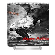 Happy Holidays . Winter Migration . Bw Shower Curtain by Wingsdomain Art and Photography