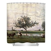 Haycart Beside A River  Shower Curtain by Jean Baptiste Camille Corot