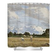 Haymaking Shower Curtain by Eugene Louis Boudin
