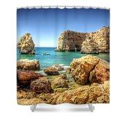 Hdr Rocky Coast Shower Curtain by Carlos Caetano