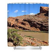 Hiking The Moab Rim Shower Curtain by Gary Whitton