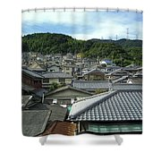 HILLSIDE VILLAGE in JAPAN Shower Curtain by Daniel Hagerman