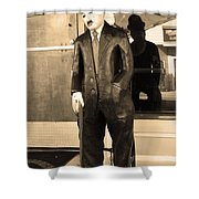 Historic Niles District In California Near Fremont . Charlie Chaplin Statue At The Florence Bar . Se Shower Curtain by Wingsdomain Art and Photography