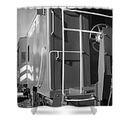 Historic Niles District in California Near Fremont . Western Pacific Caboose Train . 7D10622 . bw Shower Curtain by Wingsdomain Art and Photography