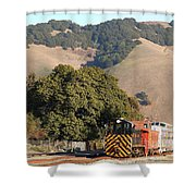 Historic Niles Trains In California . Old Southern Pacific Locomotive And Sante Fe Caboose . 7d10817 Shower Curtain by Wingsdomain Art and Photography