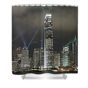 Hong Kong Light Show, At Night, Over Shower Curtain by Axiom Photographic