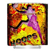 Hoops Basketball Player Abstract Shower Curtain by David G Paul