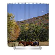 Horses And Autumn Landscape Shower Curtain by Kathy Clark