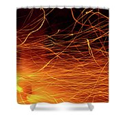 Hot Sparks Shower Curtain by Carlos Caetano