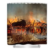 House On Fire Shower Curtain by Photo Researchers, Inc.
