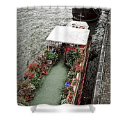 Houseboats In Paris Shower Curtain by Elena Elisseeva