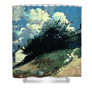 Houses On A Hill Shower Curtain by Winslow Homer