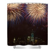 Hudson River Fireworks Xi Shower Curtain by Clarence Holmes