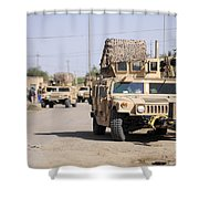 Humvees Conduct Security Shower Curtain by Stocktrek Images