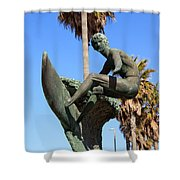 Huntington Beach Surfer Statue Shower Curtain by Paul Velgos