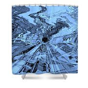 Ice Blue - Abstract Art Shower Curtain by Carol Groenen