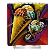 Icecream Shower Curtain by Leon Zernitsky