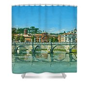Il Fiumi Tevere Roma Shower Curtain by Richard Harpum