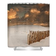 Illuminated Clouds Glowing Over A Snow Shower Curtain by John Short