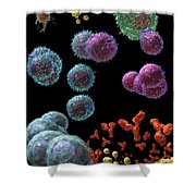 Immune Response Antibody 5 Shower Curtain by Russell Kightley