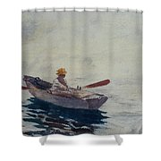 In A Boat Shower Curtain by Winslow Homer