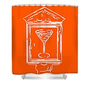 In Case Of Emergency - Drink Martini - Orange Shower Curtain by Wingsdomain Art and Photography